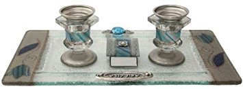 Lily Art Ocean Blue Glass Candlestick Holders with Matching Match Box and Tray