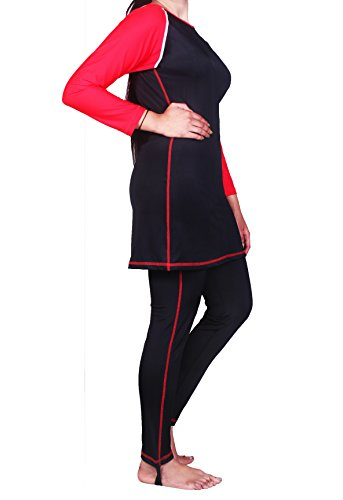 Full Swimming Costumes For Women (HB Full Length Modest Swimwear. Ladies Modest Swimming Costume. (Large, Red))