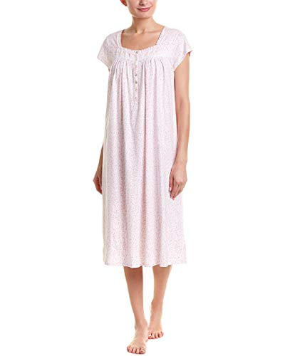 Eileen West Women's Cotton Jersey Ballet Nightgown White Rose Leaf Print X-Small