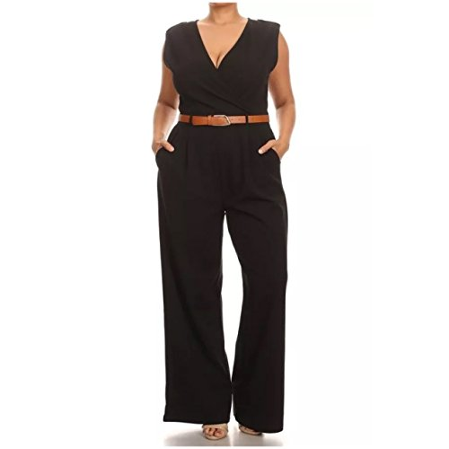 Jumpsuit Black S M L Sleeveless Belt Wrapped Women Pants Pleated Sexy Belted (Large, Black)