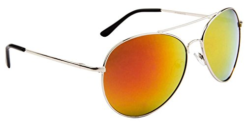 Modern Classic Aviator Sunglasses, Spring Hinge, Silver Frame, Iridescent Flash Mirror Lens (Gold Sunrise Lens) - - Sunglasses Jfk