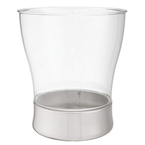 mDesign Decorative Curved Round Trash Can Wastebasket, Small Garbage Container Bin for Bathrooms, Powder Rooms, Kitchens, Home Offices - Shatter-Resistant Plastic - - Tapered Can Trash