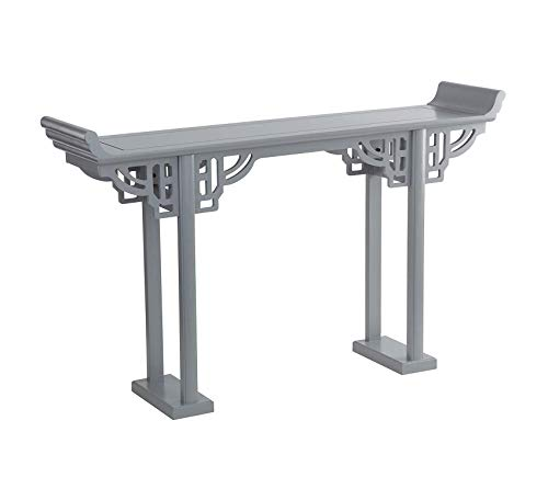 Wood & Style Furniture Forbidden City Asian Console Table: Grey, Gray Home Office Commerial Heavy Duty Strong Décor