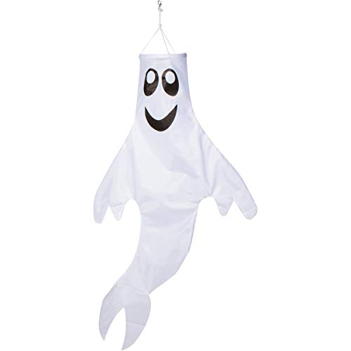 Zcutt Home Goods 48 inch Ghost Windsock Halloween Hanging Decoration — Spun Polyester Fabric — Includes swival Hanging Clip -