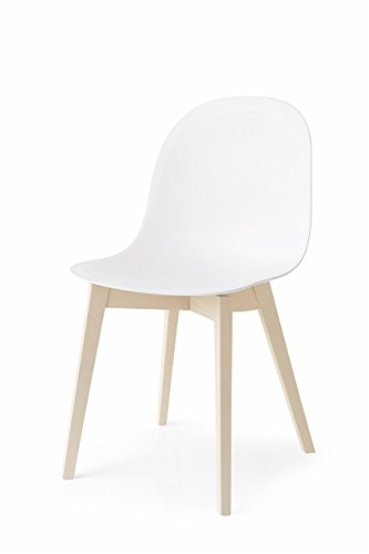 Calligaris Dining Chairs - Connubia Academy Chair with 4 Leg Solid Wood Base, Bleached Beech Frame & Polypropylene Matt Grey Seat