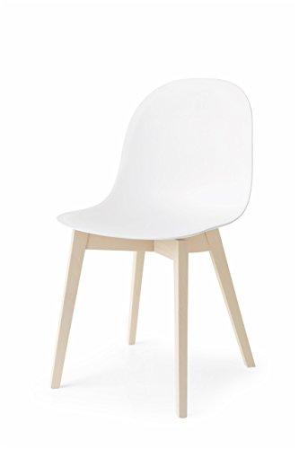 Connubia Academy Chair with 4 Leg Solid Wood Base, Bleached Beech Frame & Polypropylene Matt Grey Seat