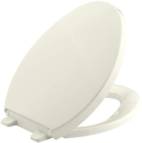 Kohler Toilet Seat Cover (KOHLER K-4748-96 Saile Quiet-Close Elongated Toilet Seat with Quick-Relase Hinges, Biscuit)