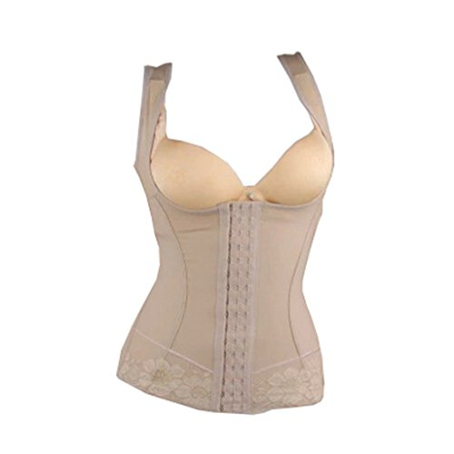 Fidella Women Abdomen Seamless Three-Breasted Adjustable Slim Shapewear XL Beige