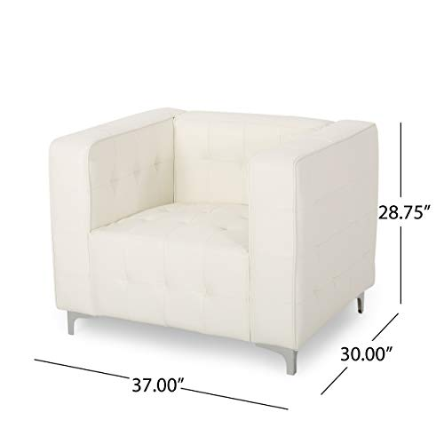 Laura Modern Glam Leather Cube Club Chair, White and Chrome - 9