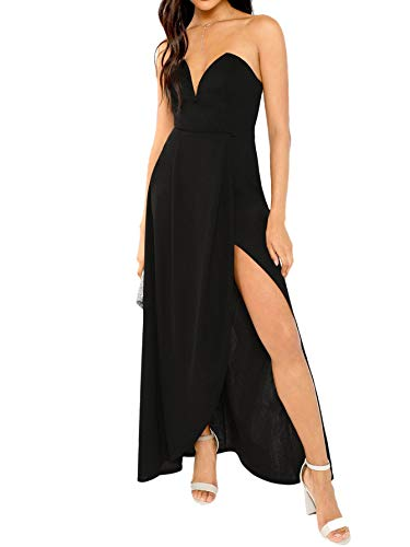 Verdusa Women's Bandeau Off Shoulder Flared Party Split Long Dress Black S