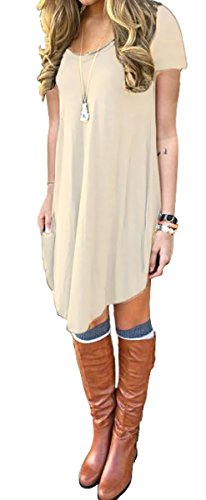 DEARCASE Women\'s Short Sleeve Casual Loose T-Shirt Dress Beige