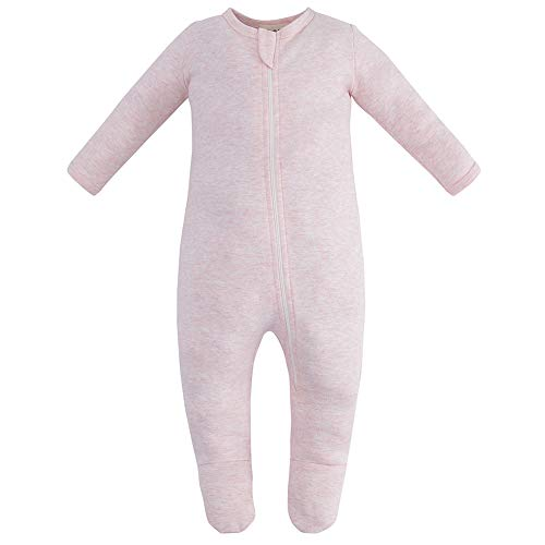 (Owlivia Organic Cotton Baby Boy Girl Zip Front Sleep 'N Play, Footed Sleeper, Long Sleeve (Size 0-18 Month)(Newborn,Pink Melange))