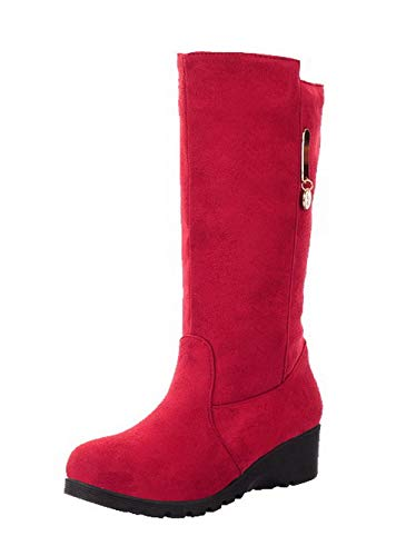 WeiPoot Women's Closed-Toe Low-Top Low-Heels Solid Frosted Boots, EGHXH127481, Red, 38 ()