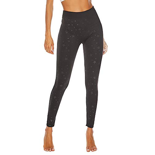 (iYBUIA Plus Size Star Print Yoga Pants Slimming Leggings Fitness Sport Athletic Pants Black)