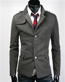 Solid Stand Collar Single Breasted Cotton Blend Long Sleeve Men Casual Suit