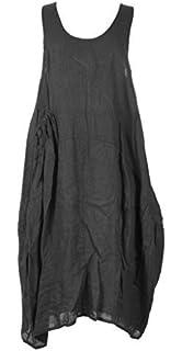 887b91c088 Love My Fashions® Womens Midi Dress Ladies Italian Lagenlook Loose Baggy  Linen Scoop Neck…