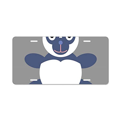 Teisyouhu Icon in Flat Design Toy Panda Car License Plate Cover Framed Tag Cover Durable Aluminum License Plate Frame for Women