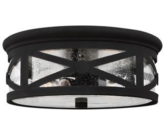 Sea Gull Lighting 7821402-12 Lakeview Two-Light Outdoor Flush Mount Ceiling Light with Clear Seeded Glass Shade, Black Finish