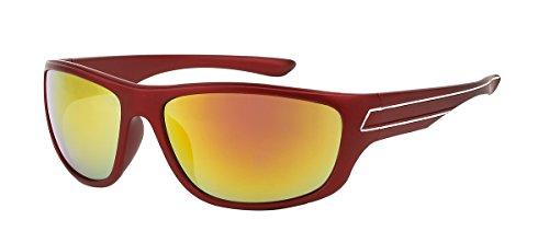 jaune S519 de Lunettes soleil Rouge mode sport miroir verre wvnBq8I