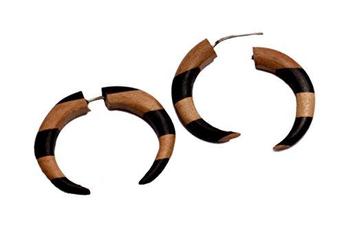 A Pair of Black & Brown Wood Hippie Tribal Faux Plugs Wooden Earrings Sew_1128