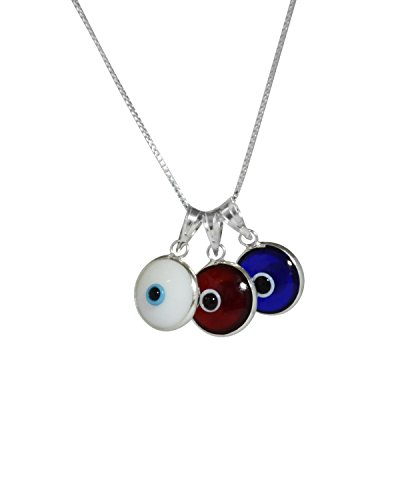 Glass Evil Eye Necklace (ALL THREE - Evil Eye Protection Necklace with Three Evil Eye Charms, RED, WHITE & BLUE in 925 Sterling Silver - 19 Inch Box Chain with Spring Ring Clasp for Men & Women)