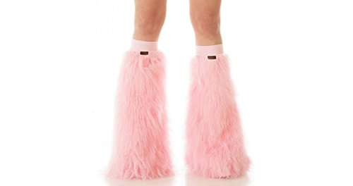[TrYptiX Women's Fluffy Leg Warmers Baby Pink One Size w/ Baby Pink Kneebands] (Furry Rave Boots)