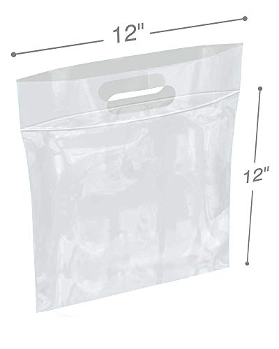 (APQ Pack of 100 Die Cut Zip Lock Bags 12 x 12. Clear Polyethylene Handle Bags 12x12. 1 Gallon. FDA, USDA Approved, 3 Mil. Reclosable Storage Bags. 3 inch Lip.Zipper Locking Poly Plastic Bags for goods)