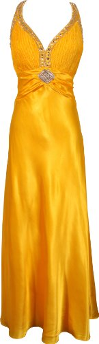 PacificPlex Twist Back Beaded Satin Formal Gown Junior Plus Size, 1X, Yellow (Gowns Pacificplex)