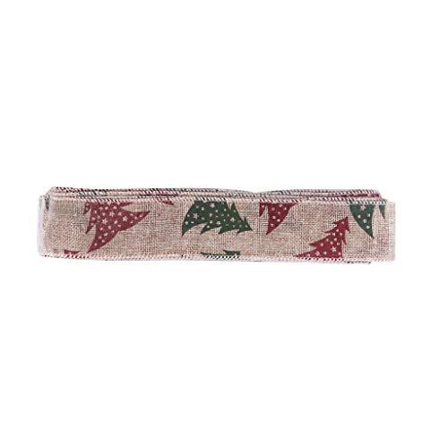 MIS1950s Linen Christmas Ribbon Rolls: 10m Xmas Ribbons Colorful for Crafts Decoration Holiday Box Gift Wrapping Ornament, Wedding etc (Multicolor)