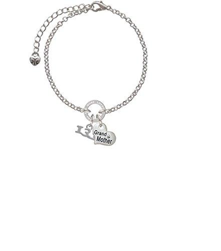 8 Silvertone Half Marathon 13.1 Grandmother You Are Loved Circle Bracelet
