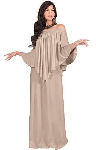 KOH KOH Petite Womens Long Strapless Shoulderless Flattering Cocktail Evening Off The Shoulder Cold Sexy Evening Flowy Formal Slimming Gown Gowns Maxi Dress Dresses, Tan Light Brown S 4-6