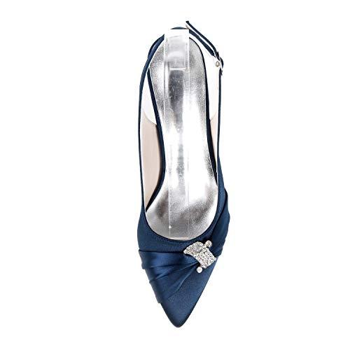 Altos Flor Tamaño 42 Eleoulck Hebilla Mujer 35 Marfil Zapatos Tacones De Blue Novia vestido Plataforma Medio Encaje Pv8rwqv07