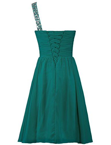 ANTS Women's Short Teal Gown One Dresses Shoulder Cocktail Chiffon Party TTqrfd