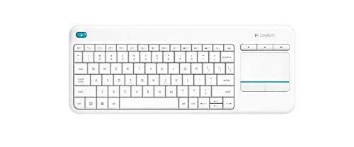 Logitech K400 Plus Teclado Inalámbrico con Touchpad para Televisores Conectados a PC, Teclas Especiales Multi-Media, Windows, Android, Ordenador/Tablet, Disposición AZERTY Italiano, color Blanco