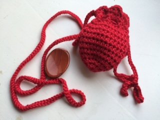 Amulet bag and worry stone: red ~ One red hand made crochet pouch ~ and one red jasper worry stone ~ Ravenz Roost stones and handmade items