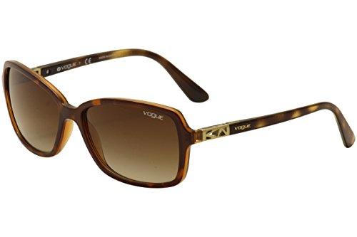 VOGUE Women's Astral Collection Rectangular Sunglasses, Top Dark Havana/Light Brown, 58 mm ()