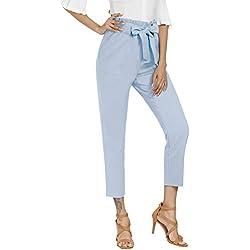 Freeprance Women's Pants Casual Trouser Paper Bag Pants Elastic Waist Slim PocketsFKZ1_LBL_S Light Blue