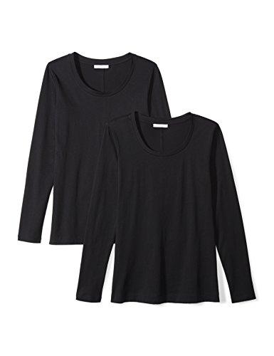 Daily Ritual Womens Lightweight 100% Supima Cotton Long-Sleeve Scoop Neck T-Shirt, 2-Pack