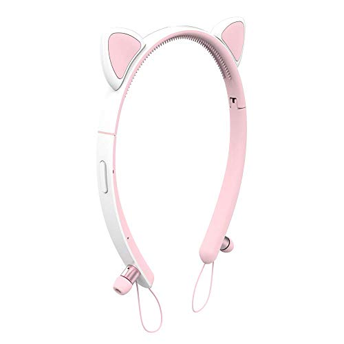 Wired Cat Ear Bluetooth Headphones with Mic, Padmate CVC6.0 Noise Cancellation, LED Glowing Light 3.5mm Audio Jack Headset for Adults Girls Children Pink