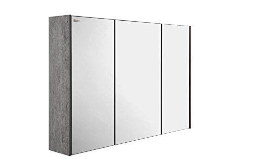 VALENZUELA Fine 28 Inch Medicine Cabinet Bathroom Vanity Mirror, Wall Mount, 3 Doors, Stone Finish (VET0070702) by DAX