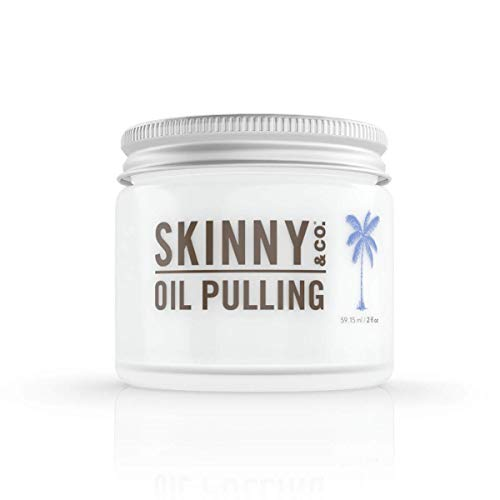 SKINNY and CO. 100% Raw Oil Pulling Peppermint Coconut Oil for Healthier Teeth and Gums (2 Oz)