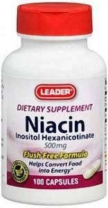Leader Niacin Flush-Free Formula 500mg, 100 Capsules Each (Pack of 6) by Leader