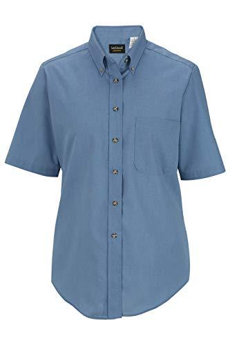 (Edwards Ladies' Easy Care Short Sleeve POPLIN Shirt X-Large Denim Blue)