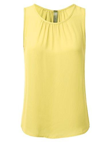 DRESSIS Womens Sleeveless Round Neck Slim Fit Pleated Chiffon Crepe Tank Top Yellow -