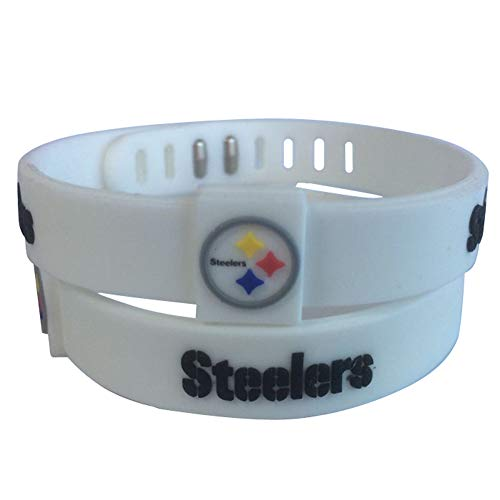 ENJOY 11 NFL Football Team Adjustable Silicone Bracelets Wristbands, a Set of Two (Pittsburgh Steelers) ()