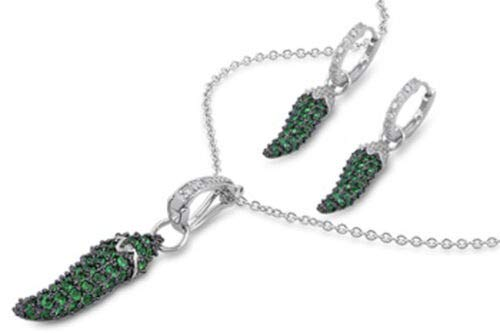 (Micro Pave Italian Horn Earrings Simulated Emerald Sterling Silver Pendant Set)