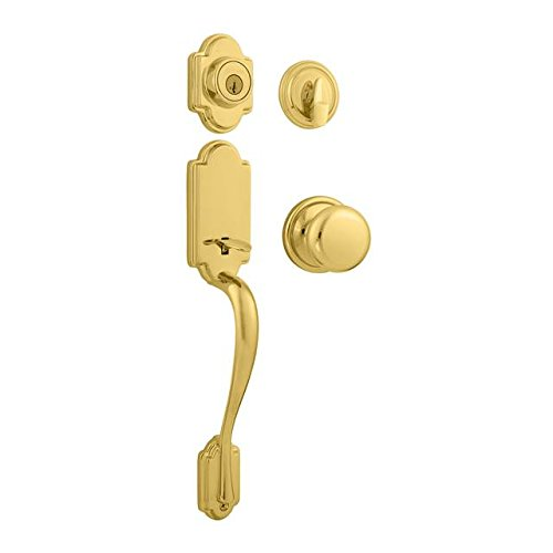 Kwikset 800AN/966H-USL03 Bright Brass (Lifetime Finish) Arlington Single Cylinder Handleset with Hancock Knob