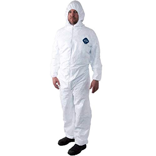 Tyvek Disposable Suit by Dupont with Elastic Wrists, Ankles and Hood (3XL)