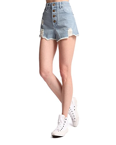 Sima Women's Denim Shorts Juniors Navy Blue High Waist Button Fly ...