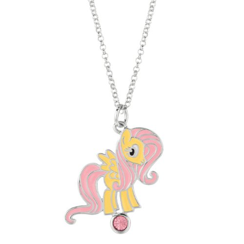 My Little Pony Girls' Plated Metal Fluttershy Pendant Necklace (Silver-Tone)